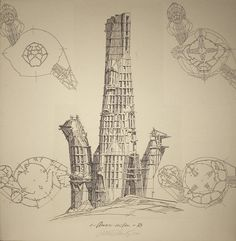 Architecture Photography: Lebbeus Woods: Early Drawings on Exhibit in NYC A City / Lebbeus Woods – ArchDaily #woods #architecture #lebbeus
