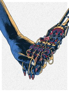 X__X • 死 者 の 顔 • #illustration #hand #robot #machine