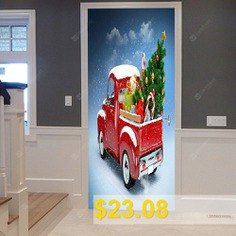 Christmas #Car #Tree #Pattern #Door #Art #Stickers #- #RED