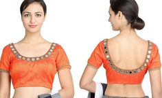 tangy color mirror work blouse designs