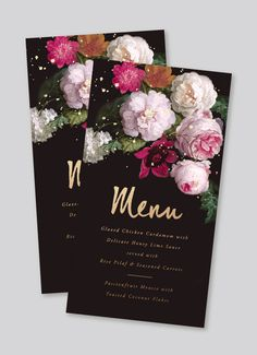 moody classic floral gold foil menu #flora #modern #classic #brushy #menu #blush #invitations #fuchsia #gold #moody #foil #typography