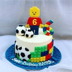 Half Lego And Half Football Cake,null