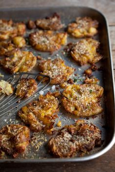 roasted smashed new potatoes with parmesan #parmesan #potato