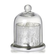 Votive with Dome Antique Silver Glass With Wax 12cm x 9.5cm