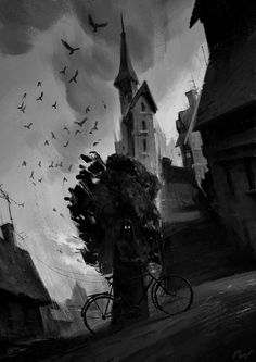 michal lisowski blog: First velominati #illustration #black and white #street #dark #gothic #bike #horror #scary #spooky #demon #thief #maca