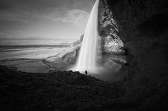 Seljalandsfoss waterfall bw