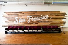 The Shop by The Bold Italic - CUSTOM RECYCLED WOOD SLAT WALL