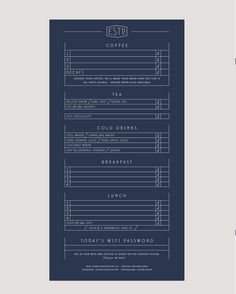 Menu, typography, layout, dan cassaro, blue, coffee