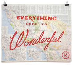 Everything Here Is Wonderful Maps | CMYBacon #map #typography