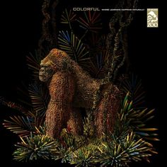 Los-Angeles-Zoo-colorful.jpg 1,000×1,000 pixels #pencil #ape