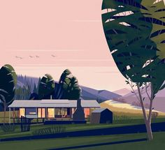 CRUSCHIFORM #vector #house #landscape #illustration #architecture #minimal #cabin #beauty