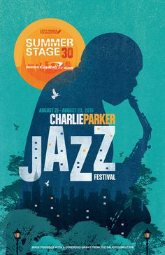 SummerStage30 Charlie Parker Jazz Festival Commemorative Poster #summer #charlieparker #jazz #illustration #graphicdesign #texture #park #gr