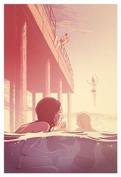 03-Colour.jpg 1,050×1,537 pixels #girls #beach #pier #comic