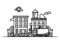 City #vector #line #icon #city #work