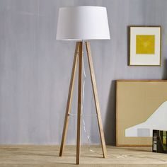 Triple Wood Floor Lamp, West End
