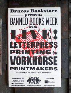 Banned Books Week Broadsides and Posters #letterpress #bold #typography
