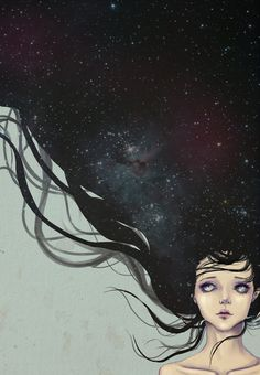 Starry Night by Spoiled-kitten #illustration #portrait #drawing #painting