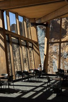 Cafe Knoll Ridge interior with glass #architecture #mountain #volcano #caf