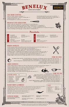 Cafe Benelux Menu Design By Rev Pop