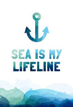 Sea #line #illustration #sea #waves #life