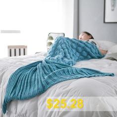 Fish #Scale #Yarn #Knitted #Sleeping #Bag #Mermaid #Blanket #- #LAKE #BLUE