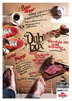 Poster Dub box #calligraphy #ink #coffe #raw #foot #box #paint #meat #poster #paper #feet
