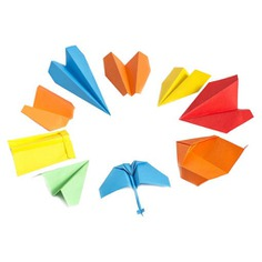 This Paper Plane Folding Kit teaches you to fold 9 different types of paper planes! It includes a well-crafted poster and 25 sheets of colored origami paper. The poster has step-by-step diagrams on how to make paper planes from easy to expert level. Perfect for keeping your kids or yourself entertained!