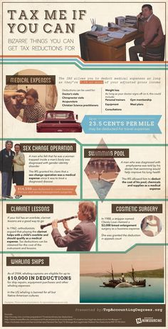 Tax Me If You Can: Bizarre Things You Can Get Tax Reductions For #infographic #design #graphic #taxes #info #art #money