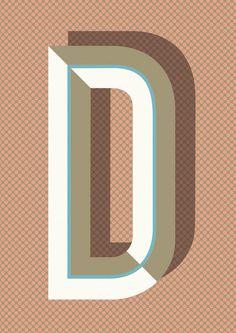 Ferm Living Shop — Bau Deco Letter Posters (A Z) #lettering #design #alphabet #vintage #shadow #deco #type #typography
