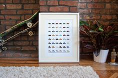 Skate Shoes of the 90s Print by Nathan Manire #flat #shoes #classics #collection #print #design #color #icons #skateboarding #retro #theme #nostalgia #illustration #90s #simple #series #streetwear #vintage #fashion #pixels