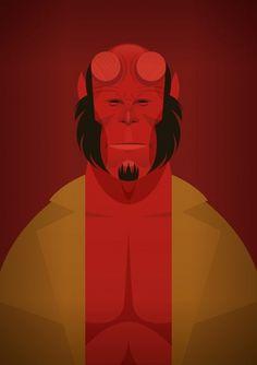 Stanley Chow Illustration #illustration #simple #red #comics #black #brown #devil #hellboy
