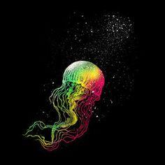 Rainbow jellyfish #jellyfish #illustration #rainbow #art