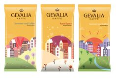 Gevalia Kaffe, Kraft Foods #halftone #vector #packaging #illustrator #illustration #stockholm #amsterdam #skyline