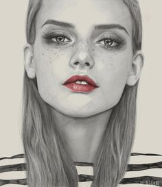 Freckles Art Print by Kei Meguro #woman #girl #print #illustration #art #fashion