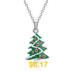 Christmas #Dripping #Oil #Christmas #Tree #Necklace #White/Platinum #Plated #- #SILVER