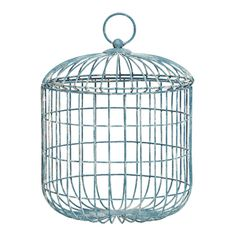 Halliday Metal White Wash Lidded Wired Basket