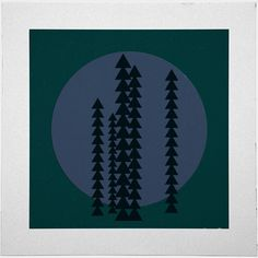#429 Mountain trees at night – A new minimal geometric composition each day