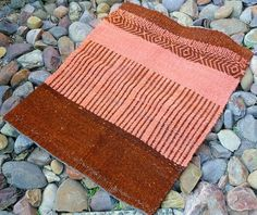 Melon Orange and Brown Wool Saddle Blanket by riverrunweaving #pattern #navajo #blanket #woven #saddle