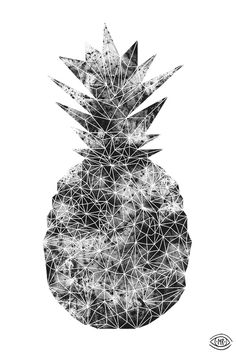 Moon Crystal pine Digital Illustration by Maria Rönngren #crystal #pineapple #digital #moon
