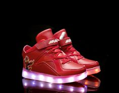 Kids Super Nova LED Luminous Shoes-red