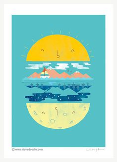 Burger of the day Art print by ilovedoodle on Etsy #flat #sun #mountain #burger #sky #fresh #blue #light #moon