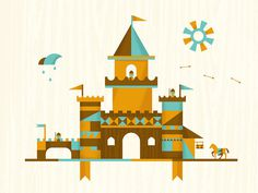 Castles | DangerDom Studios #flat #vector #color #texture #illustration #mid #century #cute #castle #kids