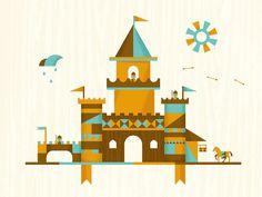 Castles | DangerDom Studios #flat #vector #color #texture #illustration #mid #century #cute #castle #kids