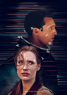 Digital arts, digital painting, artwork, fan art, interstellar, Christopher Nolan, Matthew McConaughey, Jessica Chastain, poster