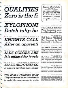Stymie Bold Italic type specimen #slab #type #specimen #serif