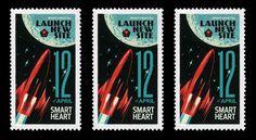 New SmartHeart site launch 12 april 2012 #old #russian #retro #soviet #space #letter #stars #rocket #postcard #moon