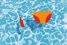 Here comes the summer #beer #sun #water #pool #illustration #summer #swimming