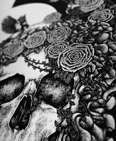 Tumblr #white #black #illustration #and #detailed #skull
