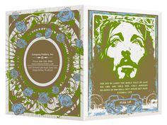 Graffiti Jesus with Roses Presentation Folder Template #vector #roses #jesus #template #folder #green