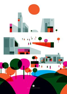 """City of the Future"" Illustrations for Prelios on the Behance Network #flat #vector #city #illustration #buildings"